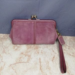 Coach Purple Suede Leather Kiss Lock Wristlet